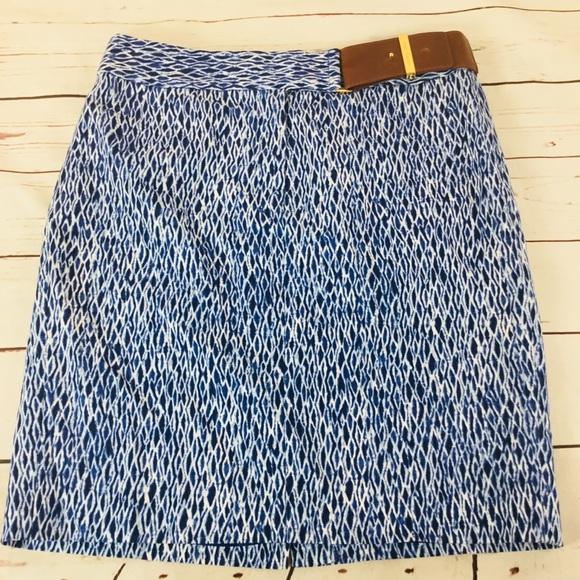 Michael Kors Dresses & Skirts - Michael Kors Belted A-Line Blue Patterned Skirt.